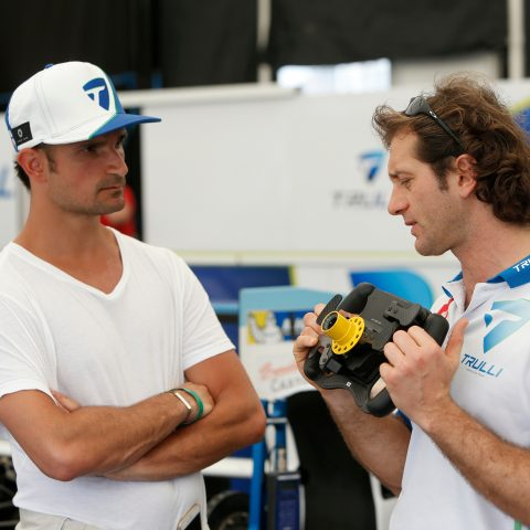 Liuzzi had a late call-up to deputise for Cerruti at Miami in 2015, and is shown the controls by team boss Trulli